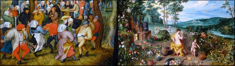Galerie Florence de Voldère (A25): слева - «Свадебный танец» - Питер Брегель, старший; справа - «Весна» - Ян Брегель, младший