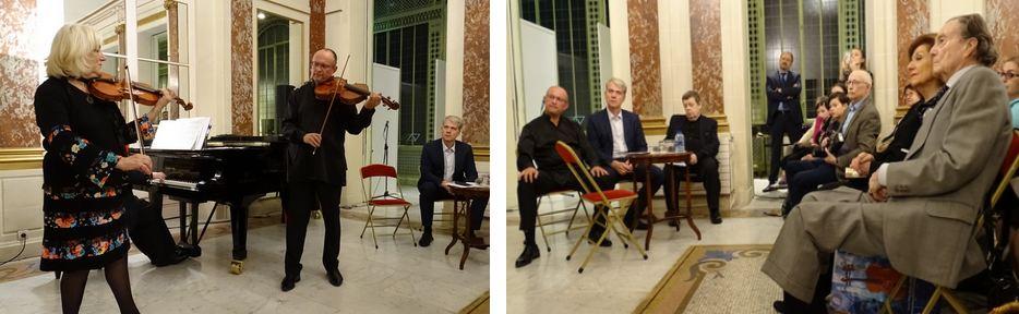 Играют И.Медведева и А. Халапсис.  Фрагмент вечера: справа, сидя, - П.Шереметьев; в центре, стоя, - К.Волков.